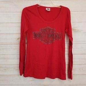 Harley Davidson logo red embellished tee